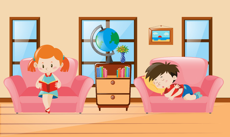 Boy and girl in living room illustration Illustration