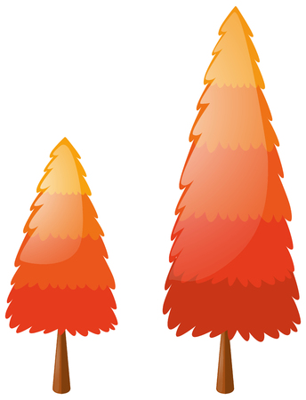 Two pine trees with orange leaves illustration