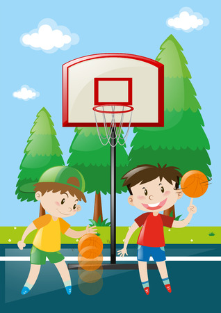 boys playing: Two boys playing basketball in court illustration Illustration