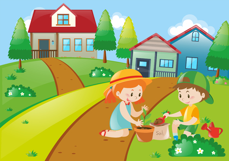 planting: Cute kids planting trees illustration Illustration