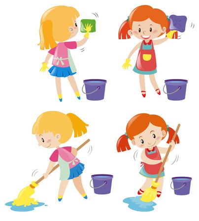 Girl doing different kind of chores illustration
