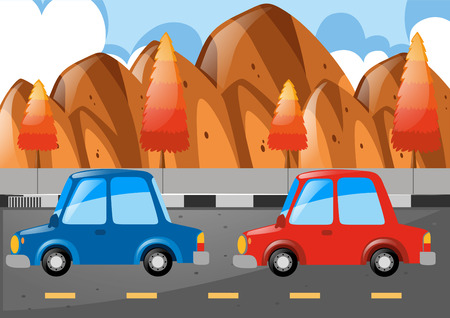 Two cars driving on the road illustration Illustration