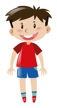 red shirt: Boy in red shirt smiling illustration