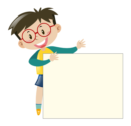 Boy with glasses holding paper illustration Imagens - 63491043