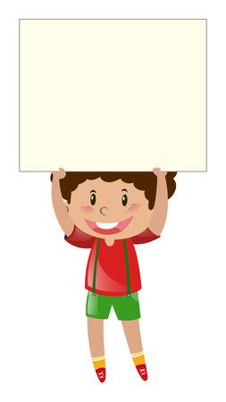 Little boy lifting up blank paper illustration