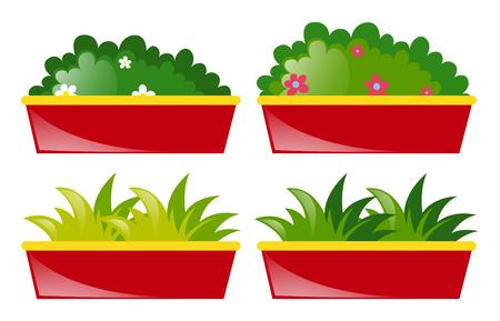 Cuatro olla de flores y hierba ilustración