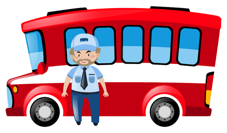 chauffeur: Bus driver and red bus illustration