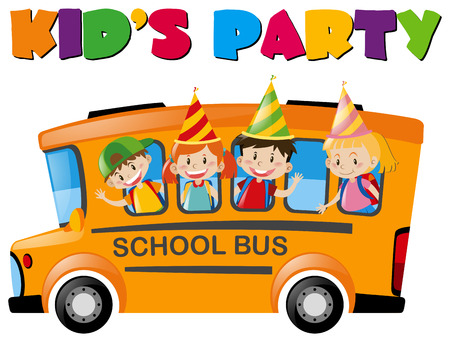 Kids with party hats on the bus illustration