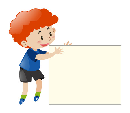 Red hair boy holding blank paper illustration Vectores