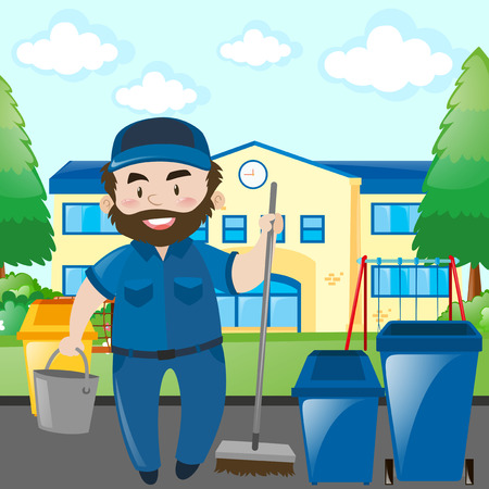 janitor: Janitor cleaning the school campus illustration