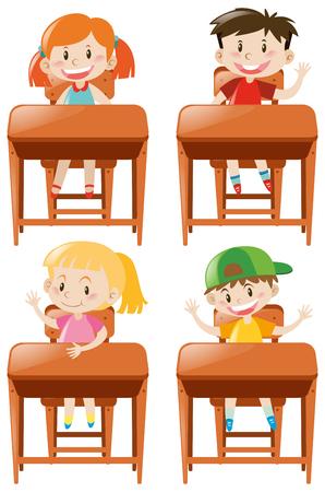 Boys and girls sitting on desk illustration