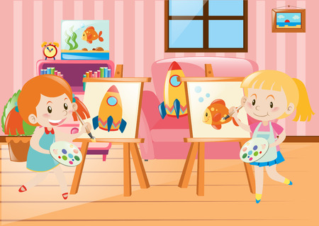 drawing room: Two girls drawing on canvas in room illustration Illustration
