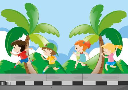 pavement: Four kids running on the pavement illustration