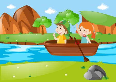 2 人の子供の手漕ぎボート イラスト  イラスト・ベクター素材