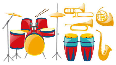 drumset: Different types of musical instruments illustration