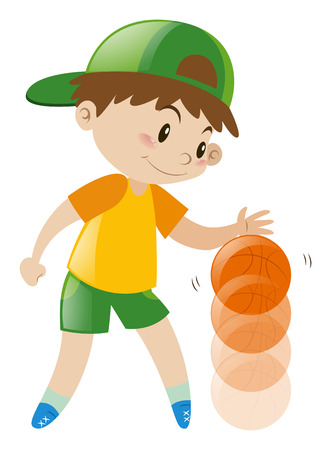 bouncing: Boy bouncing basketball with one hand illustration Illustration