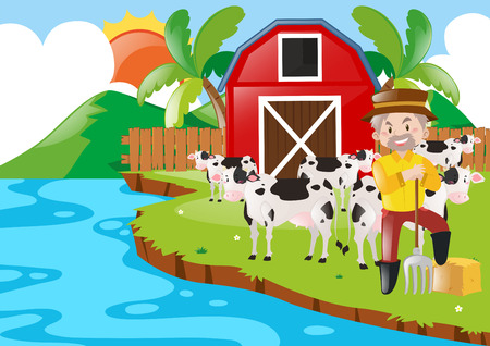 Farmer and cows in the farm illustration Illustration