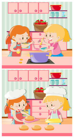 cute children: Girls cooking and baking in kitchen illustration