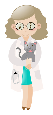 vet: Female vet holding pet cat illustration