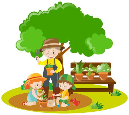 planting: Kids and gardener planting in garden illustration Illustration