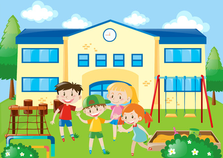 Four students in the school playground illustration