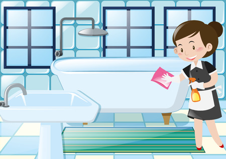 maid cleaning: Maid cleaning bathtub in the bathroom illustration Illustration
