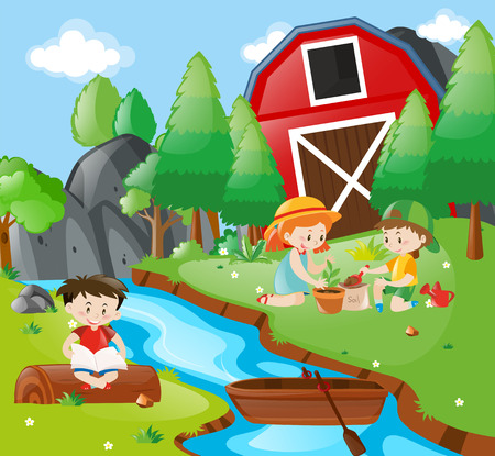 planting: Kids reading and planting in park illustration