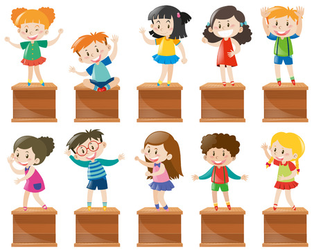 mates: Many kids stand and sit on box illustration