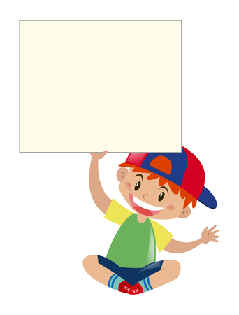 Happy boy holding sign illustration Vectores