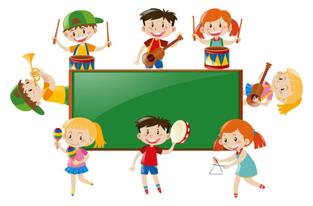 triangle musical instrument: Frame design with children playing music illustration Illustration