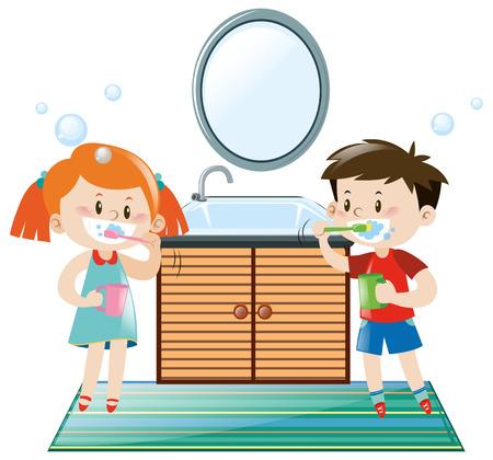 Boy and girl brushing teeth in bathroom illustration Illustration