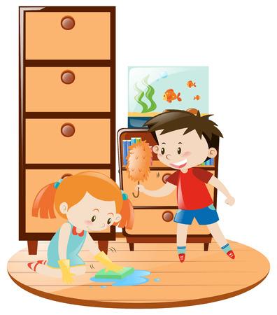Boy and girl doing housework together illustration Illustration