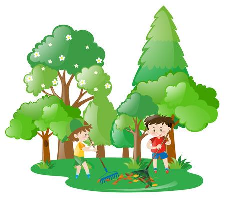 Two boys raking leaves in forest illustration