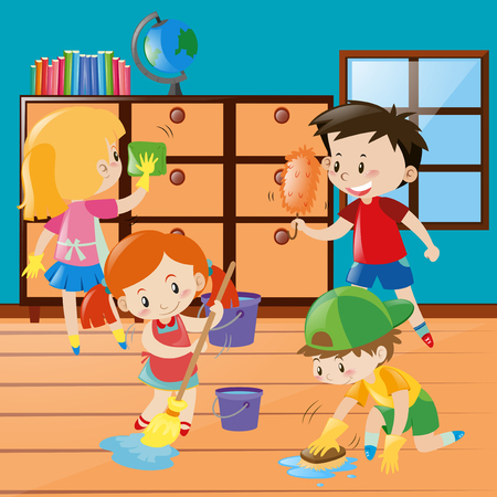 Boys and girls cleaning room together illustration