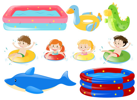 Children swimming and other equipments illustration