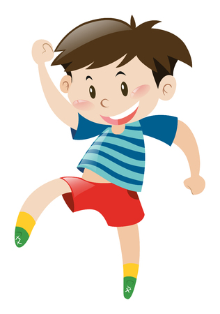 red shorts: Little boy in red shorts dancing illustration