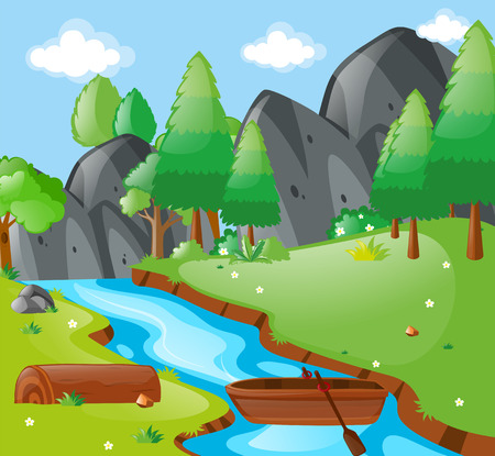 moutain: Scene with river and mountains illustration