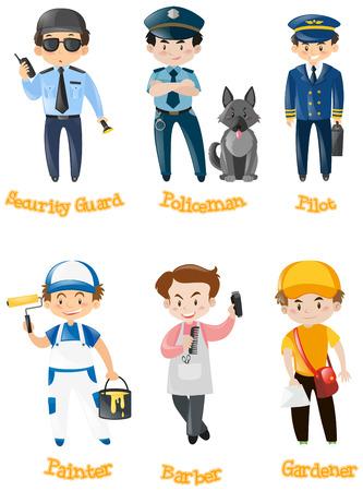 kinds: Men doing different kinds of jobs illustration