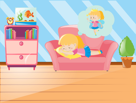 Girl napping on sofa in living room illustration
