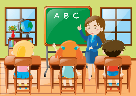 teacher teaching: Teacher teaching kindergarten students in class illustration