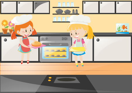 Two Girls Baking Cake In Kitchen Illustration Royalty Free Cliparts Vectors And Stock Image 63492095