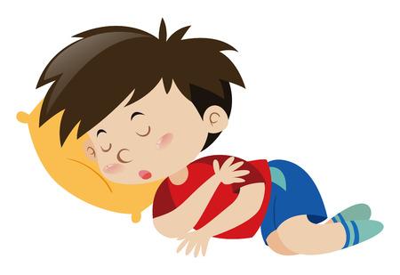 Boy sleeping on yellow pillow illustration