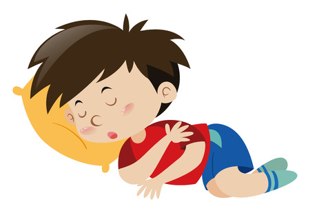 Boy sleeping on yellow pillow illustration