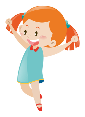 blue dress: Little girl in blue dress cheering illustration