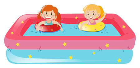 two girls: Two girls swimming in small pool illustration