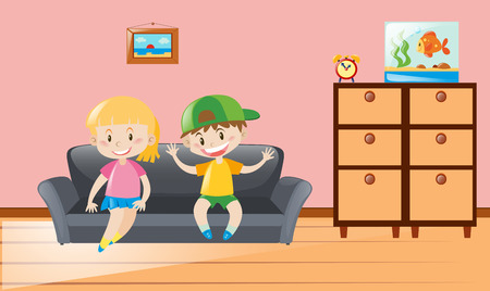 Three Children Cleaning Living Room Illustration Royalty Free ...
