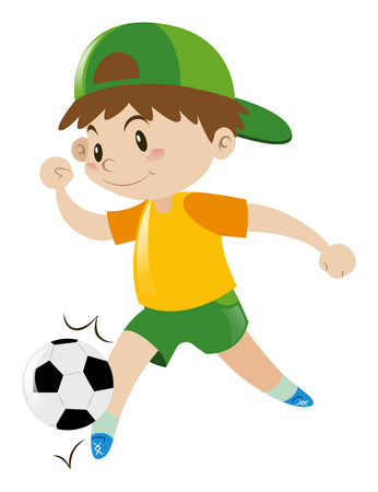 Little boy playing football illustration