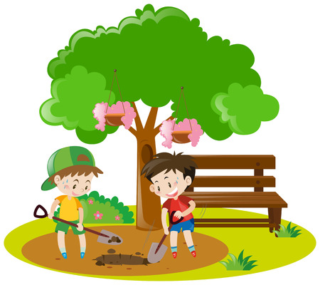 Two boys digging hole in garden illustration