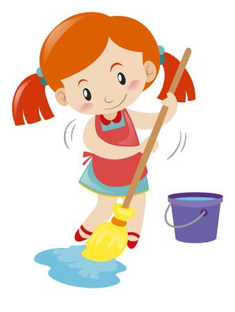 wet floor: Girl mopping wet floor alone illustration