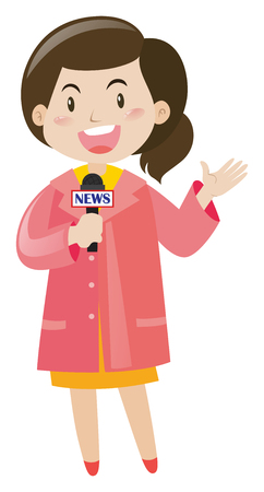 news reporter: News reporter with microphone illustration